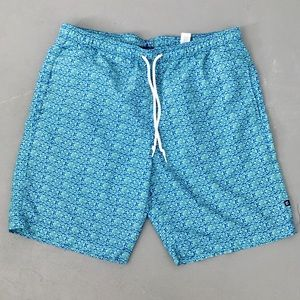 LIKE NEW Men's Blue and Green Patterned Swim Suit
